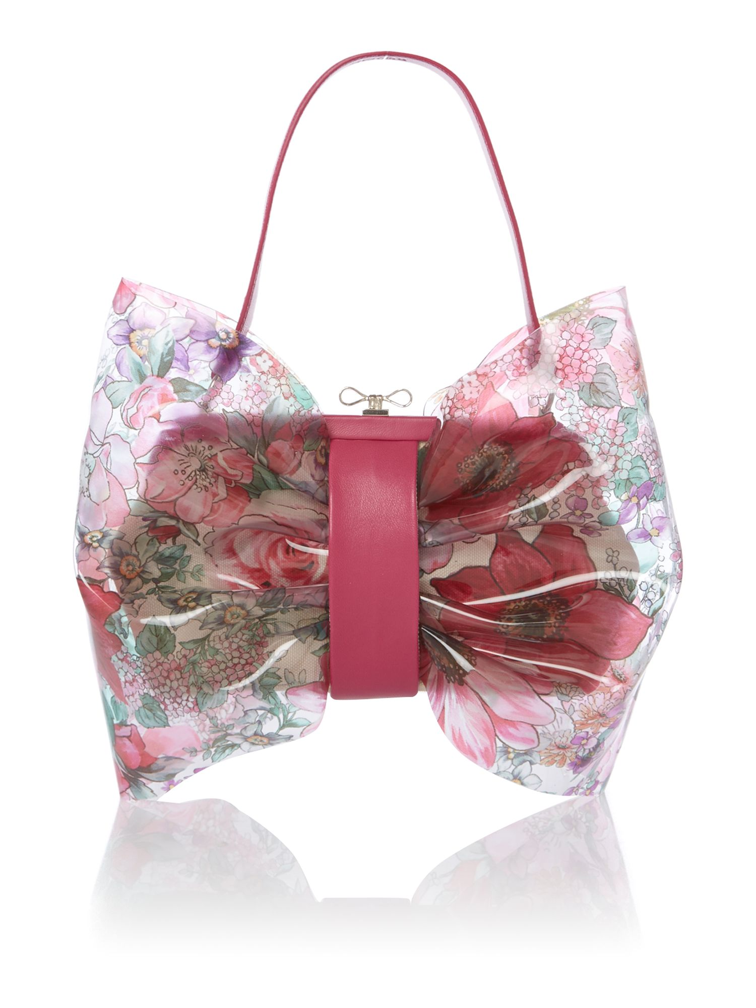 Transparent multi coloured bow grab bag