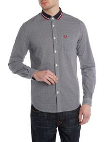 Knitted collar gingham shirt
