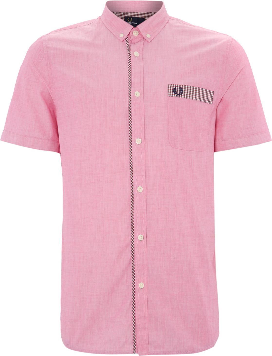Short sleeved gingham trim end on end shirt