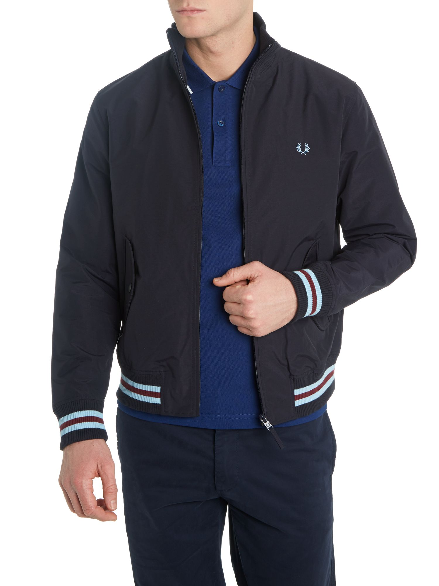 Tipped nylon bomber jacket