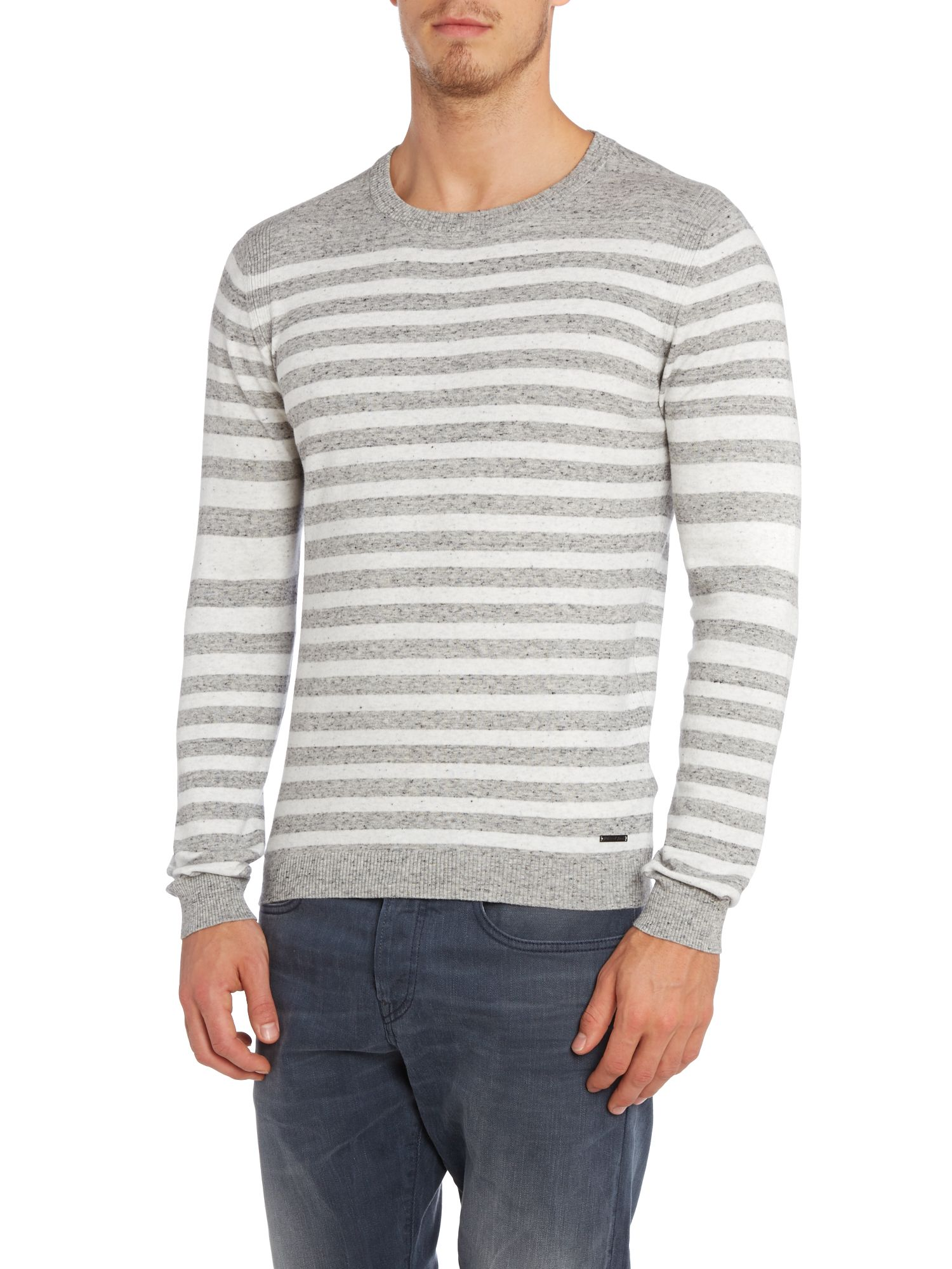 Knitted striped crew jumper