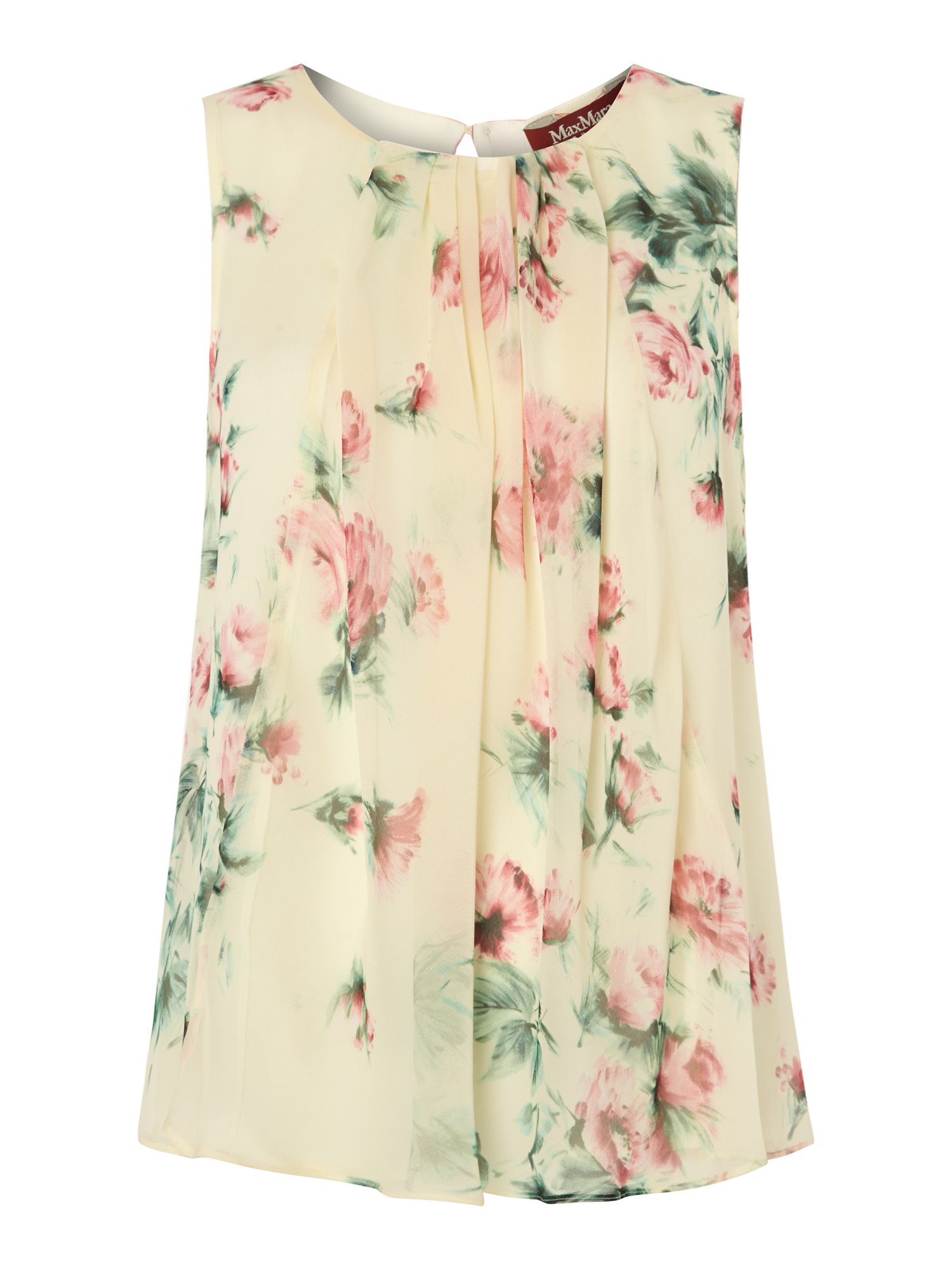 Floral print sleeveless silk top