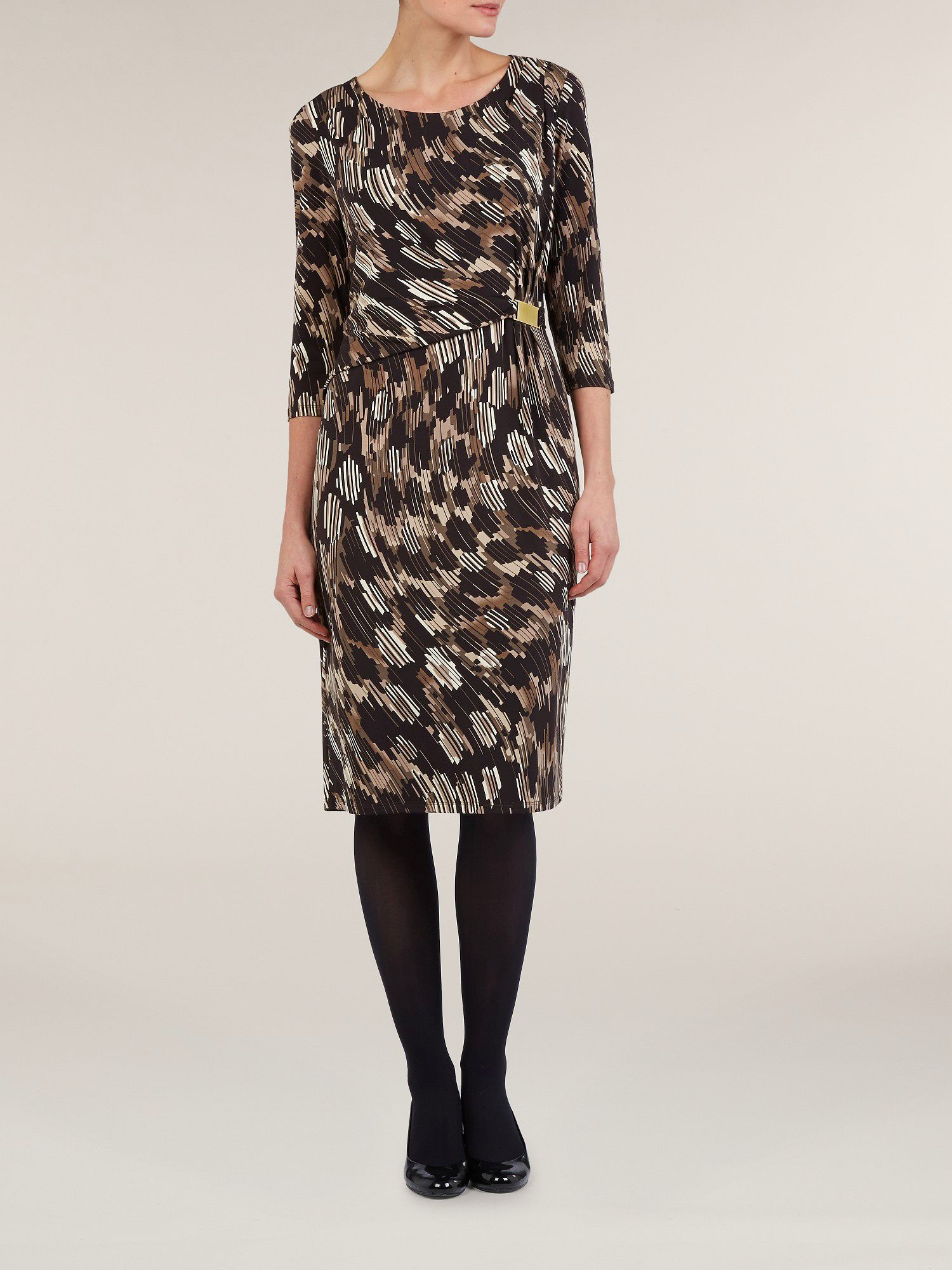 Black geometric print jersey dress