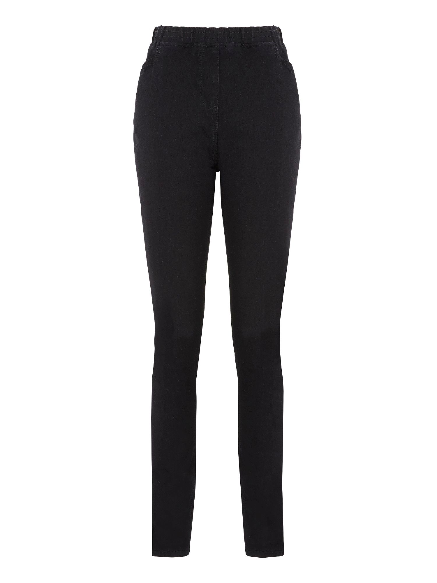 Black stretch denim jeggings petite