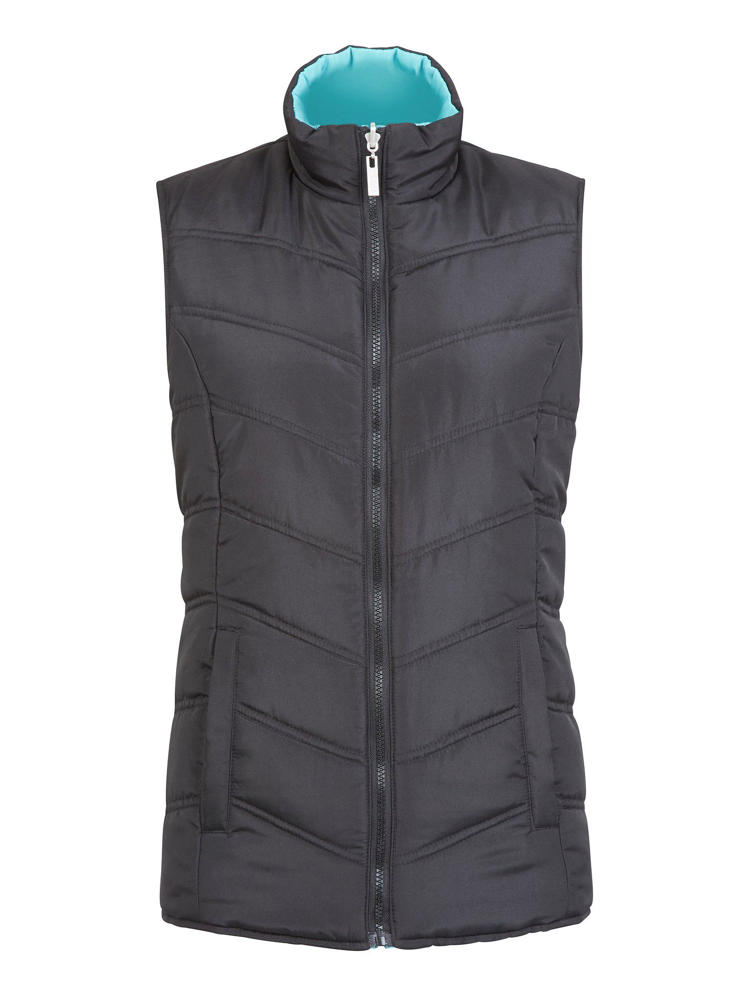 Black & jade reversible quilted jacket