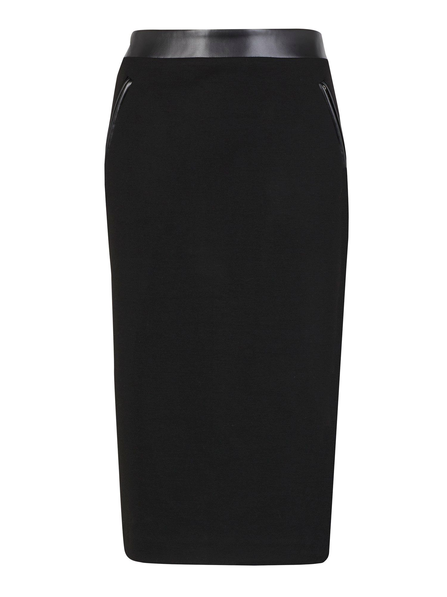 Black leatherette trim pencil skirt