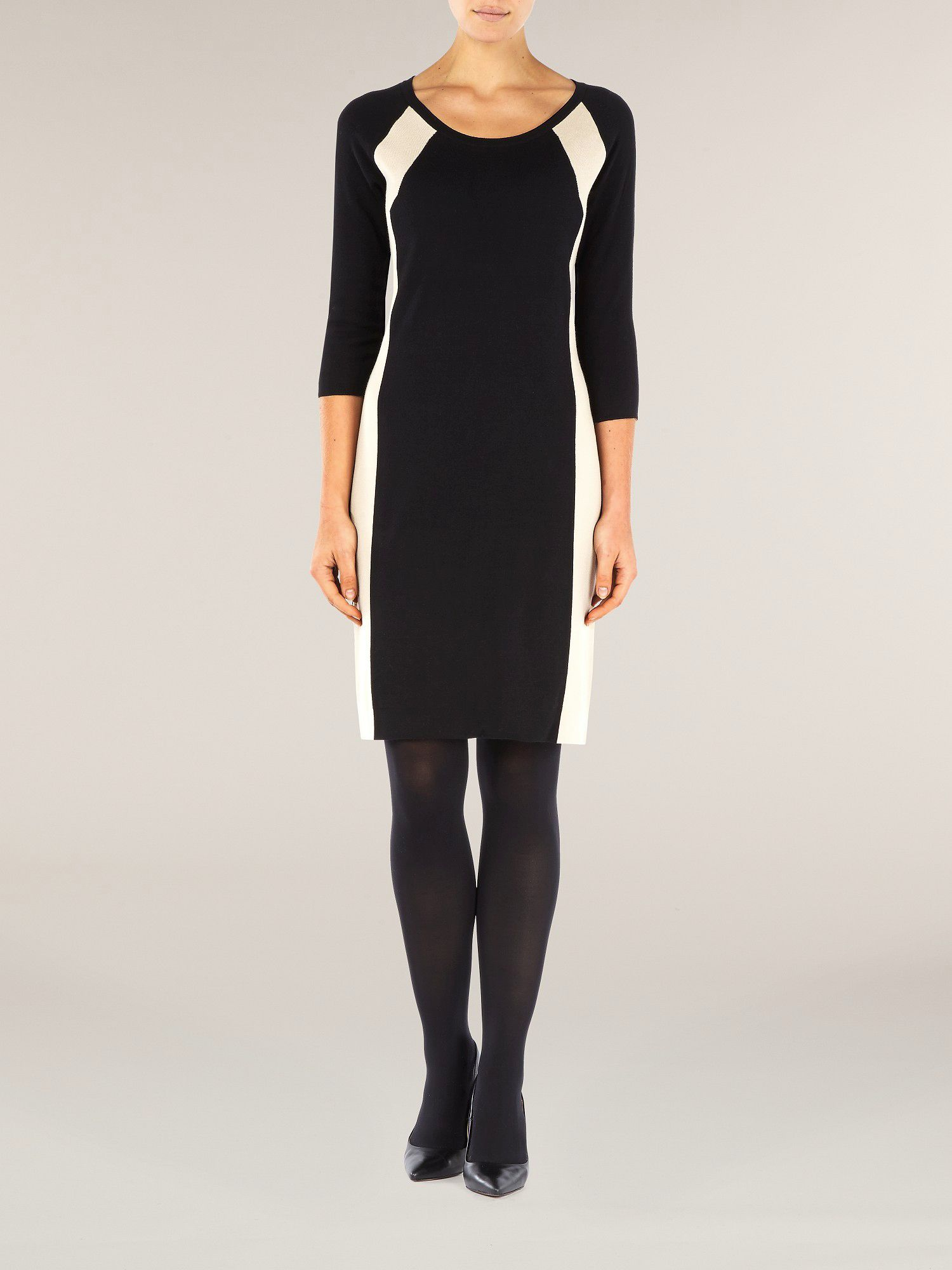 Panelled knitwear colour block dress