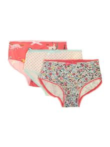 Girl`s 3 pack printed knickers