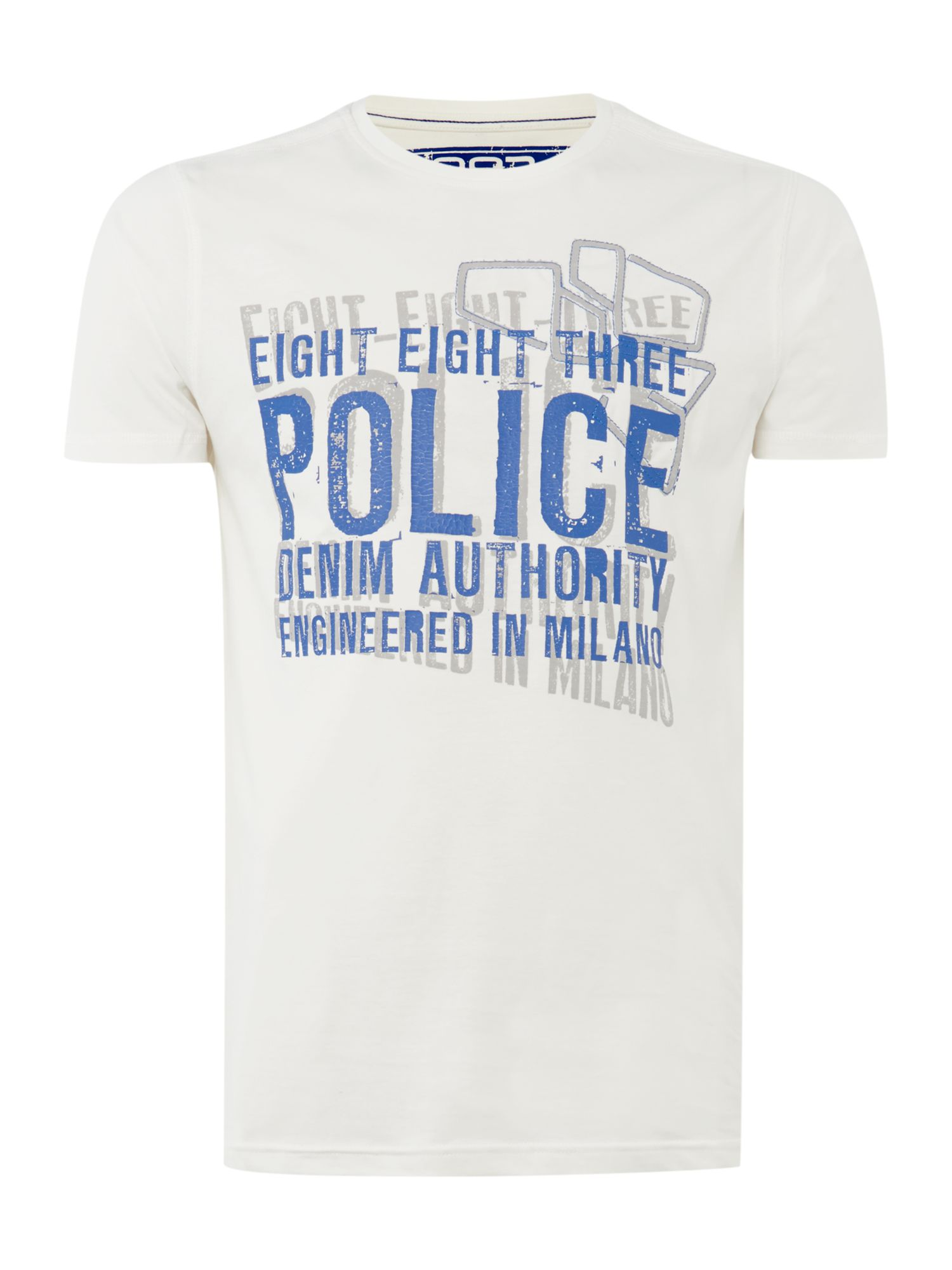 Police logo denim authority short sleeve t-shirt