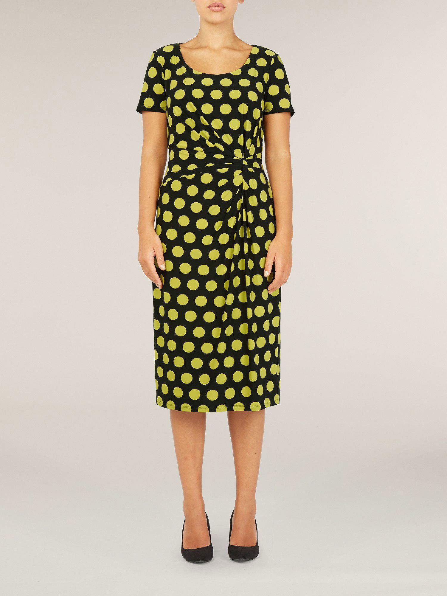 Black and fennel spot print jersey dress