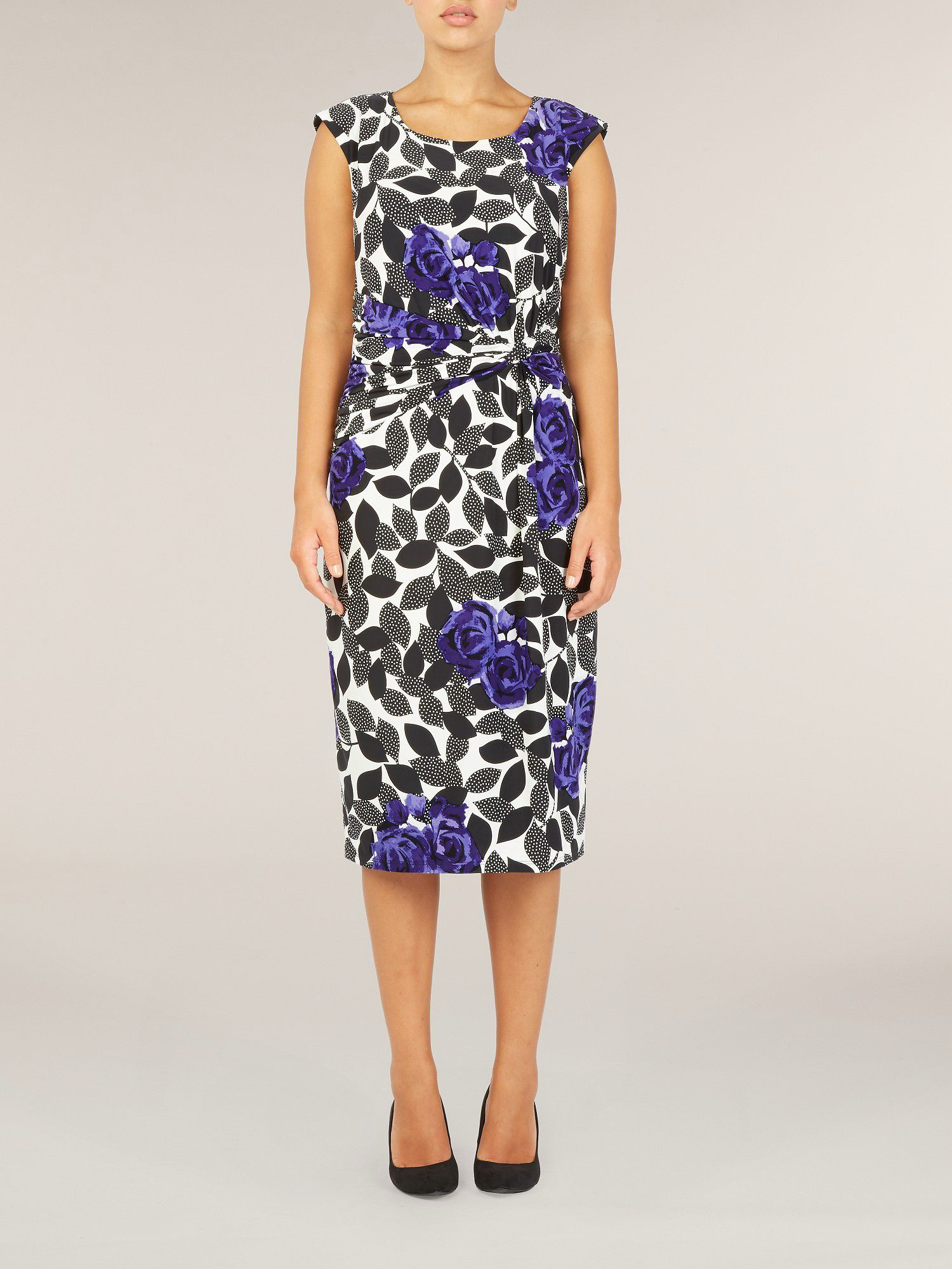 Ultra violet leaf print jersey dress