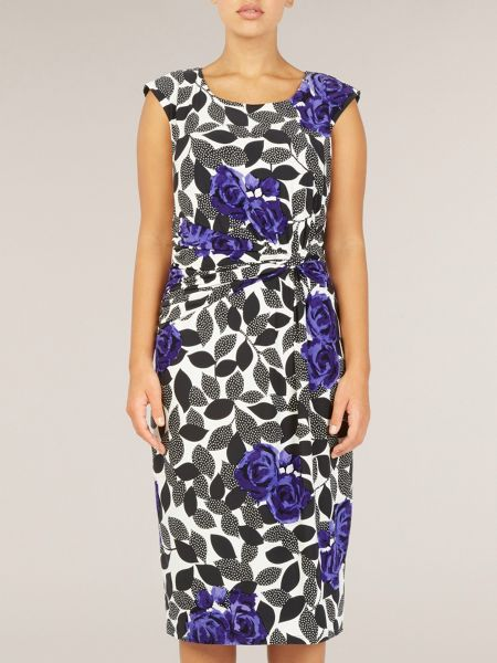Precis Petite Ultra violet leaf print jersey dress