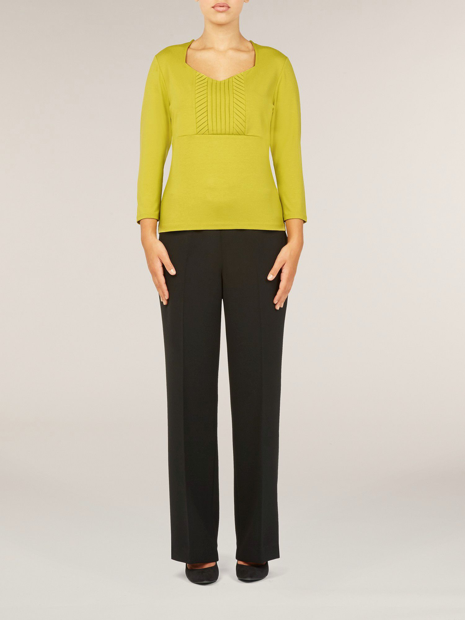 Fennel pleat front jersey top
