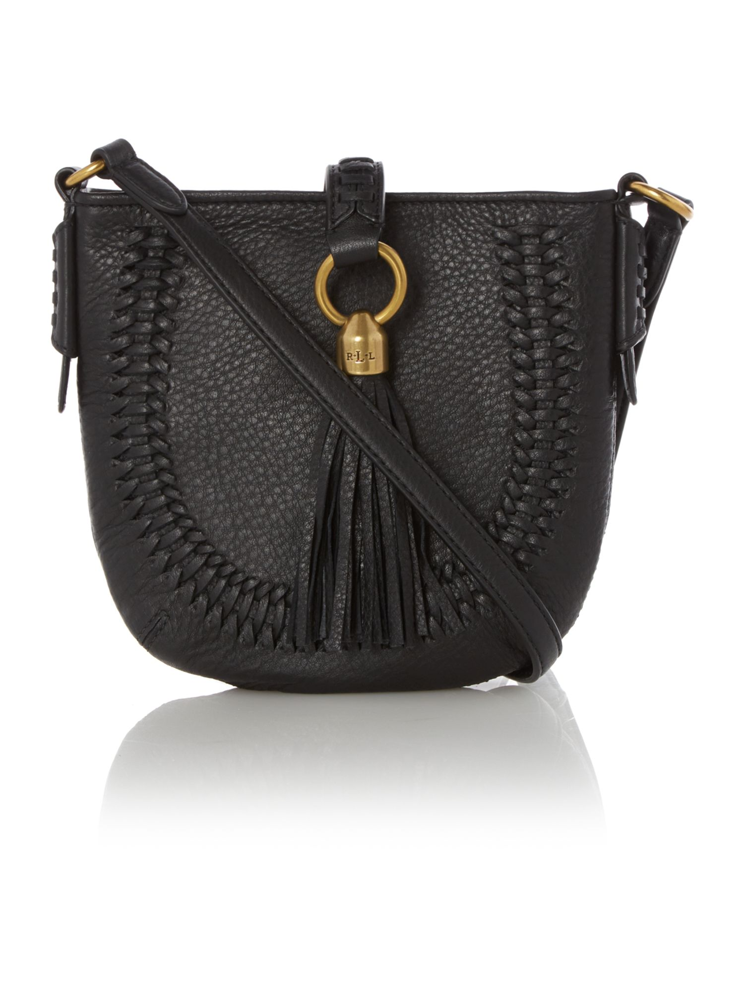 Indian cove black tassle crossbody bag