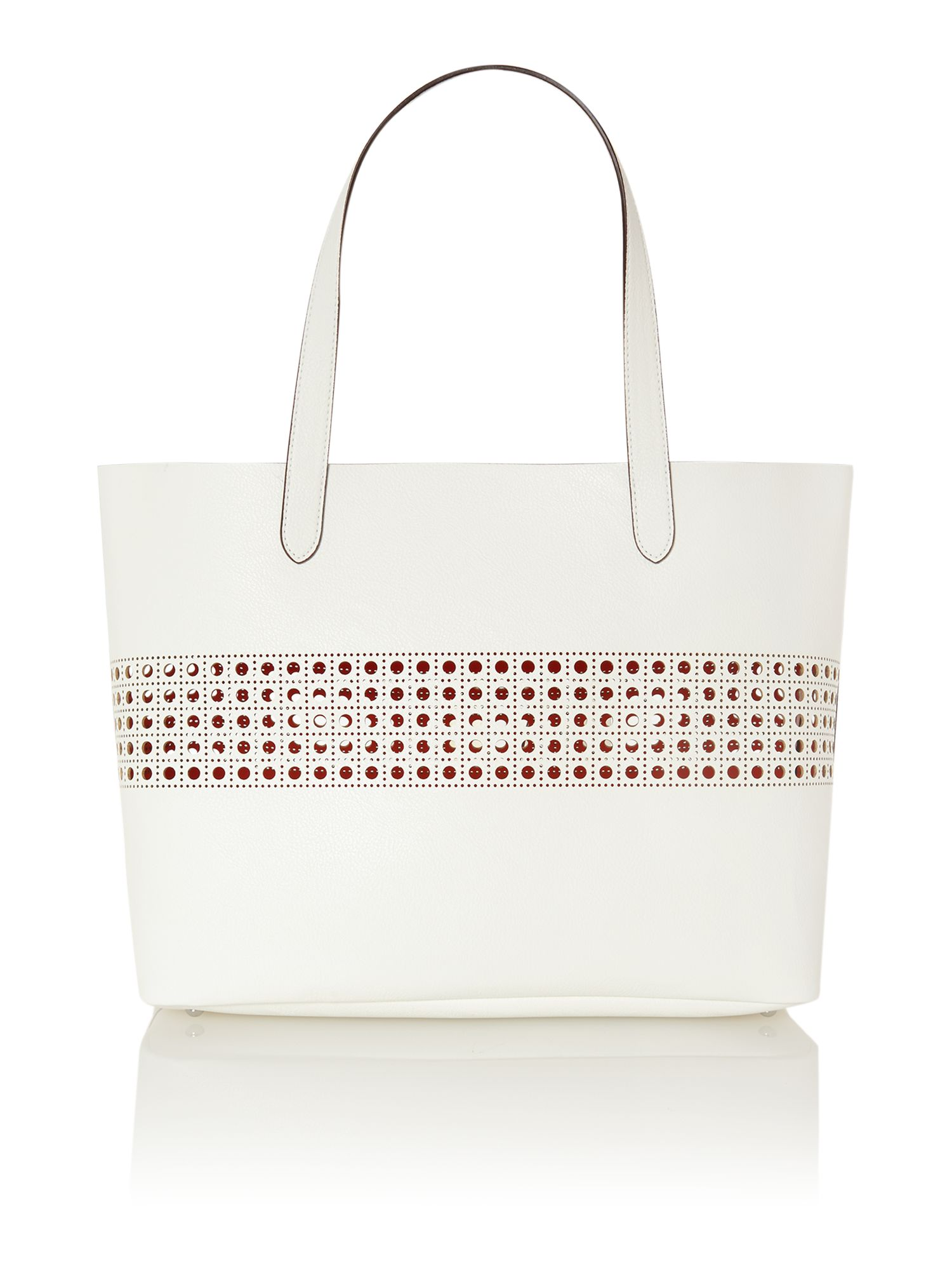 Leighton white large tote bag