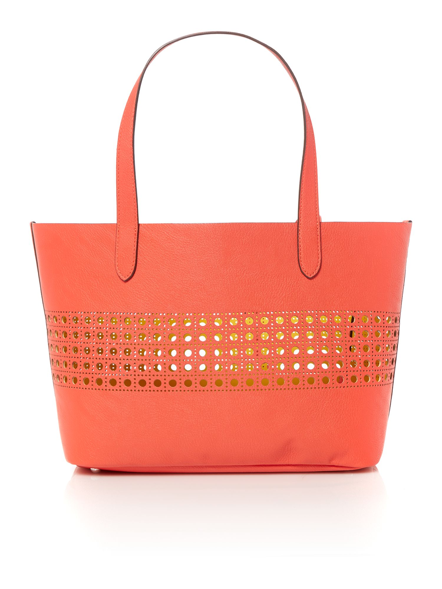 Leighton coral small tote bag