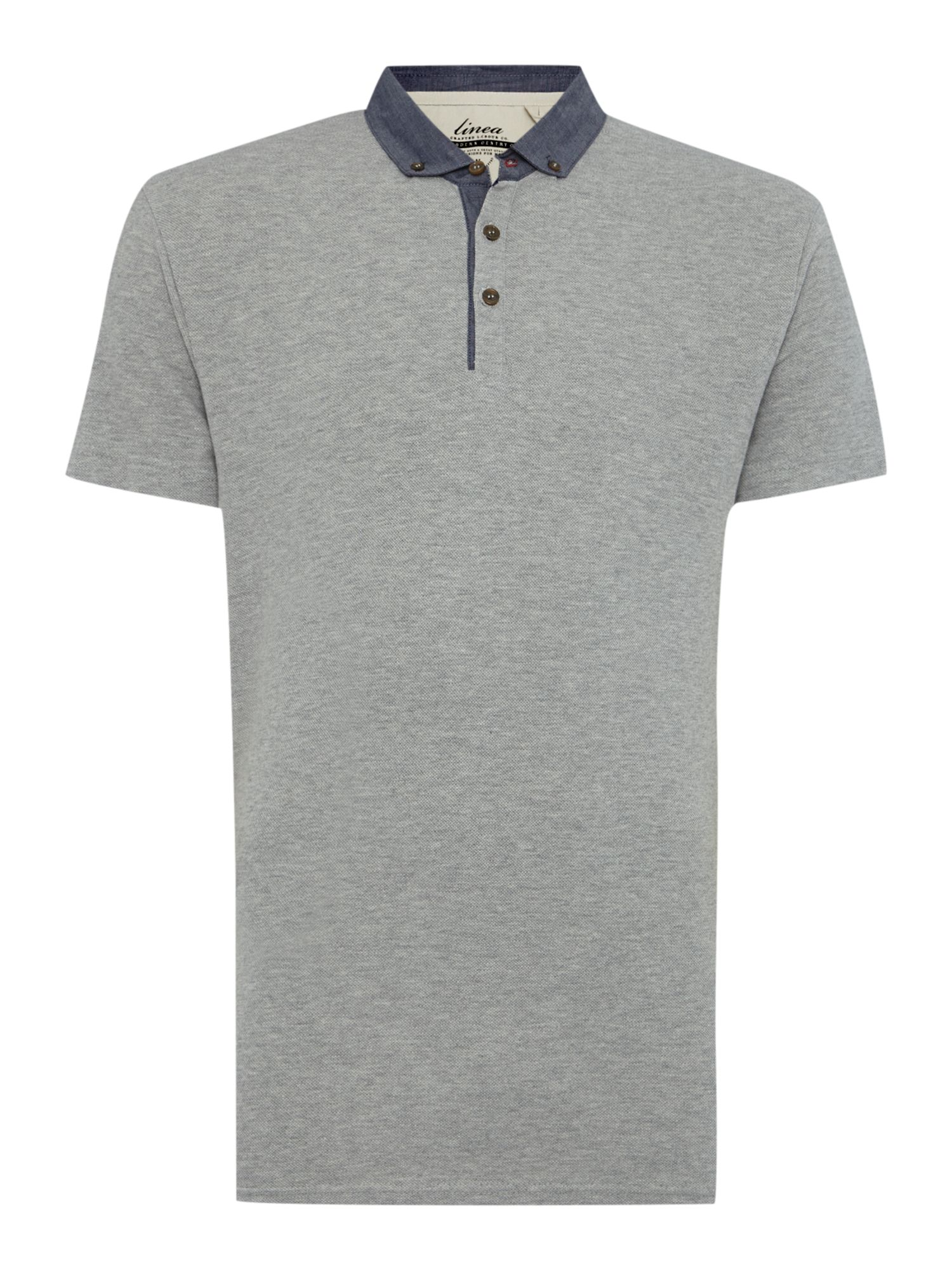 george pique chambray collar polo