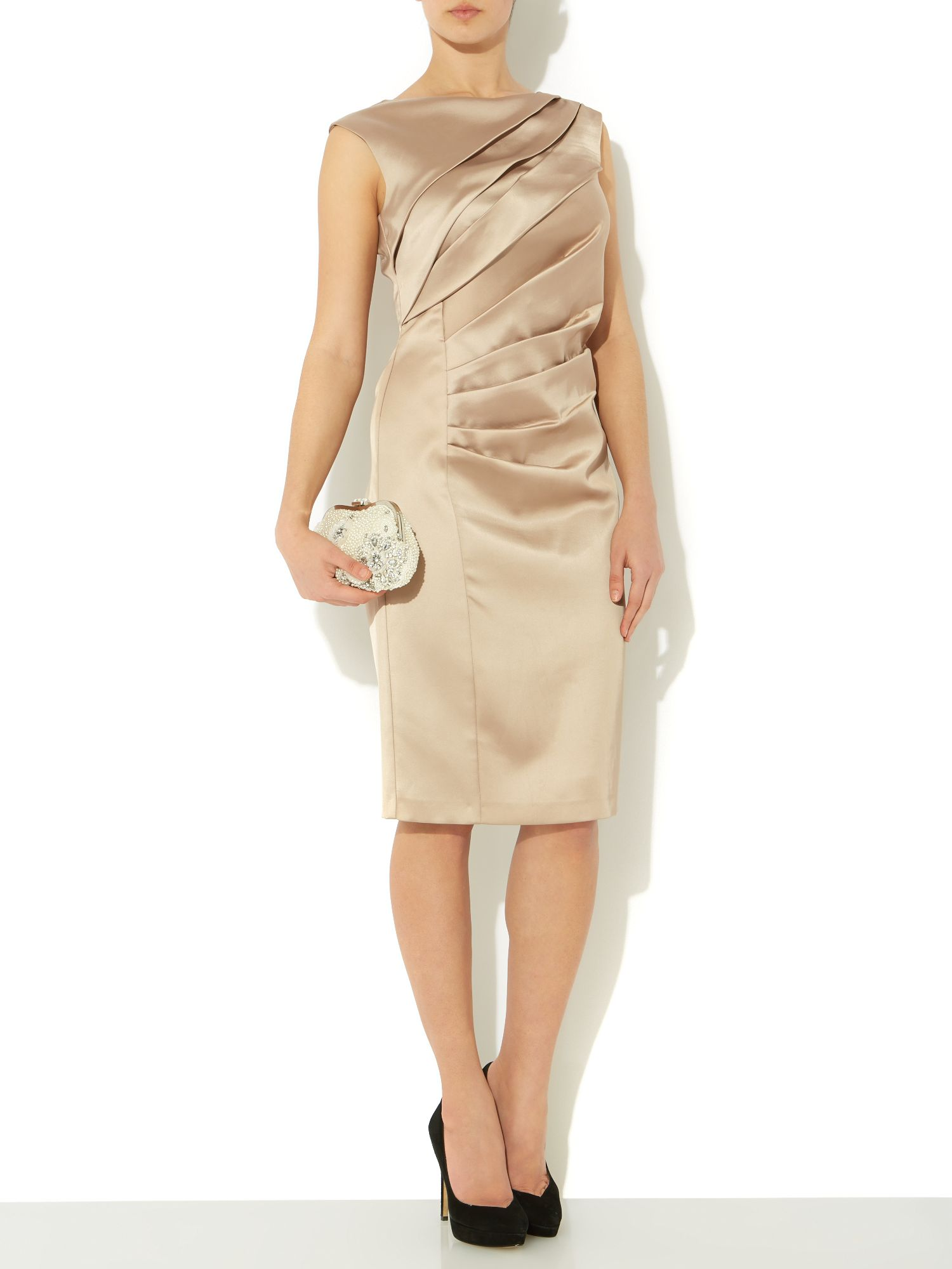 Satin Structured Slash Collar Dress