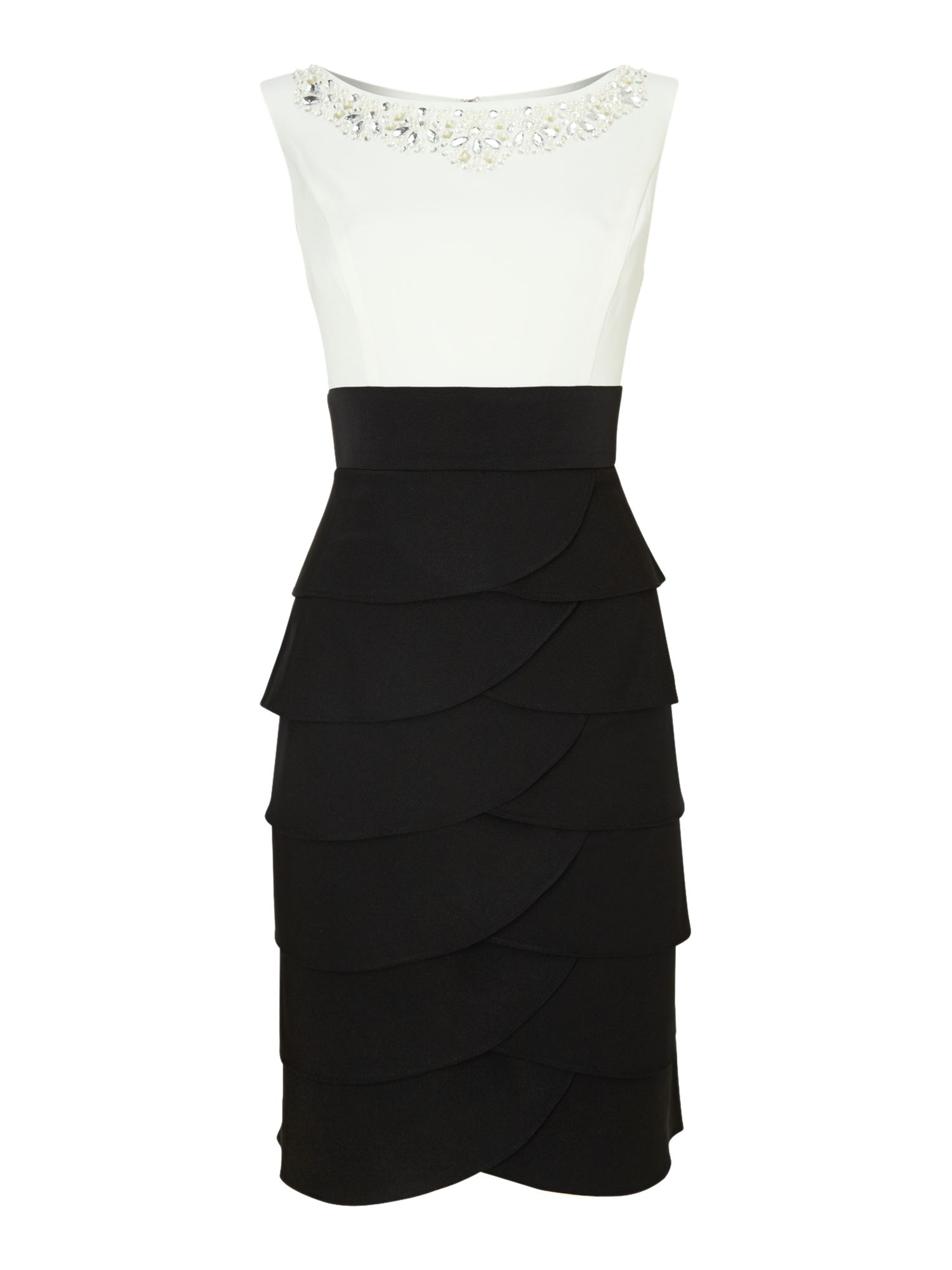 Colour block tiered dress