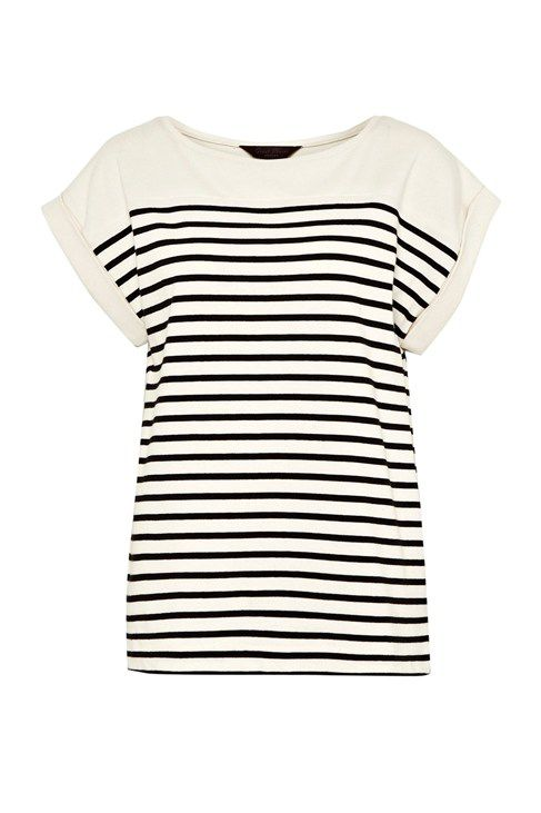 Breton stripe roll sleeve top