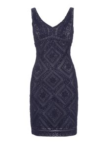 Adrianna Papell V neck flower lace dress