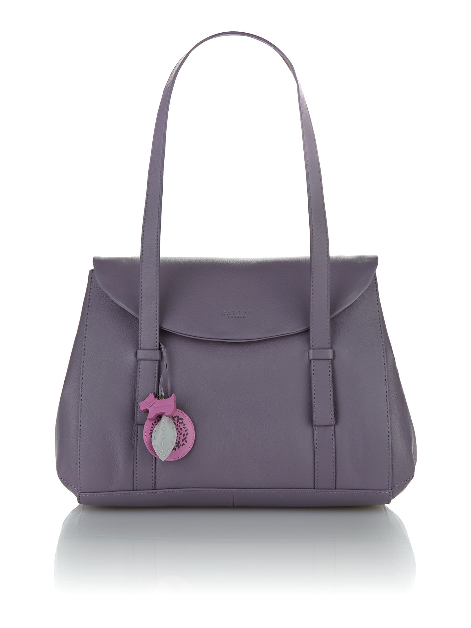 Sherwood purple large leather flapover tote bag