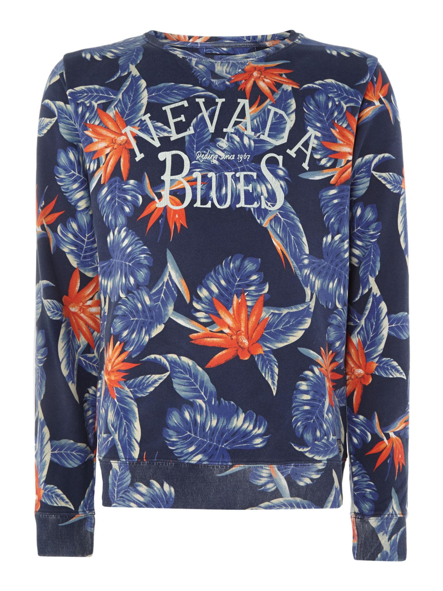 Allover printed crewneck beach sweat