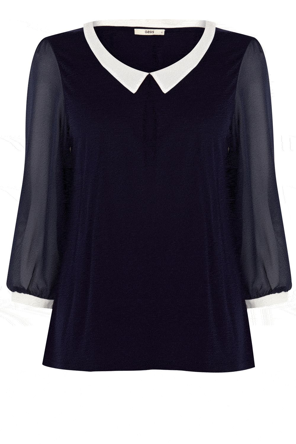 Tipped collar blouse