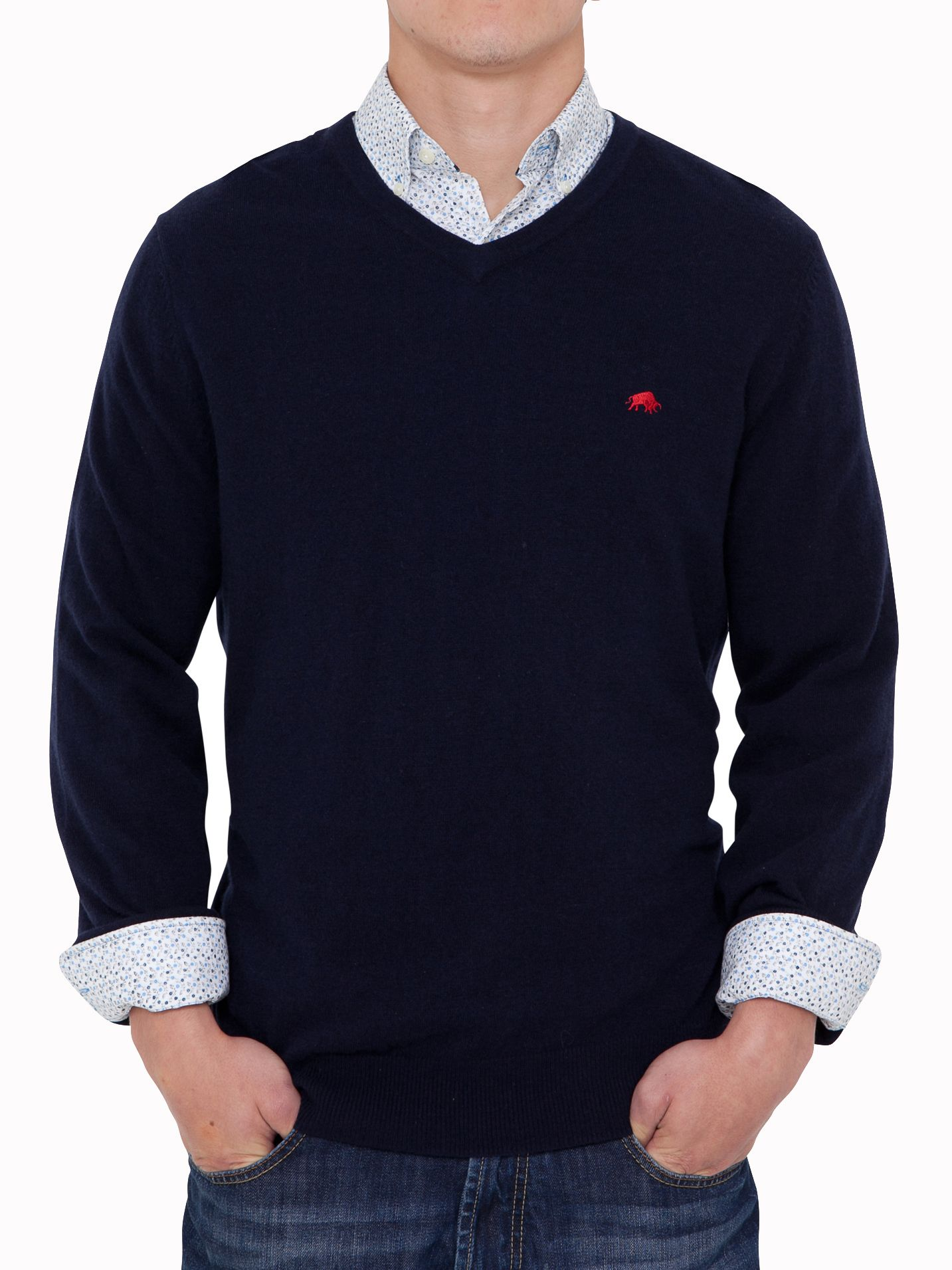 Big and tall v-neck sweater navy