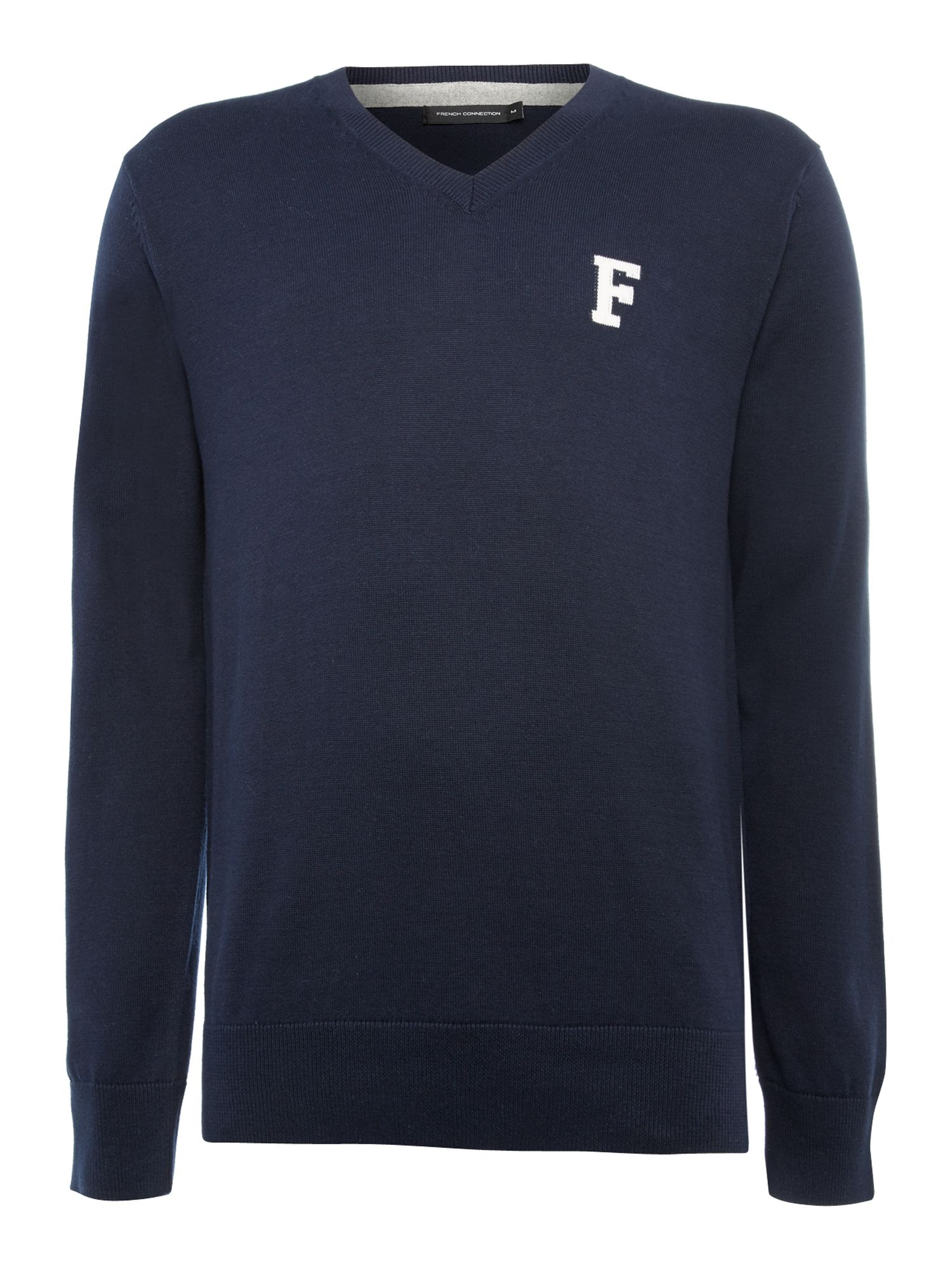 F` intarsia cotton jumper