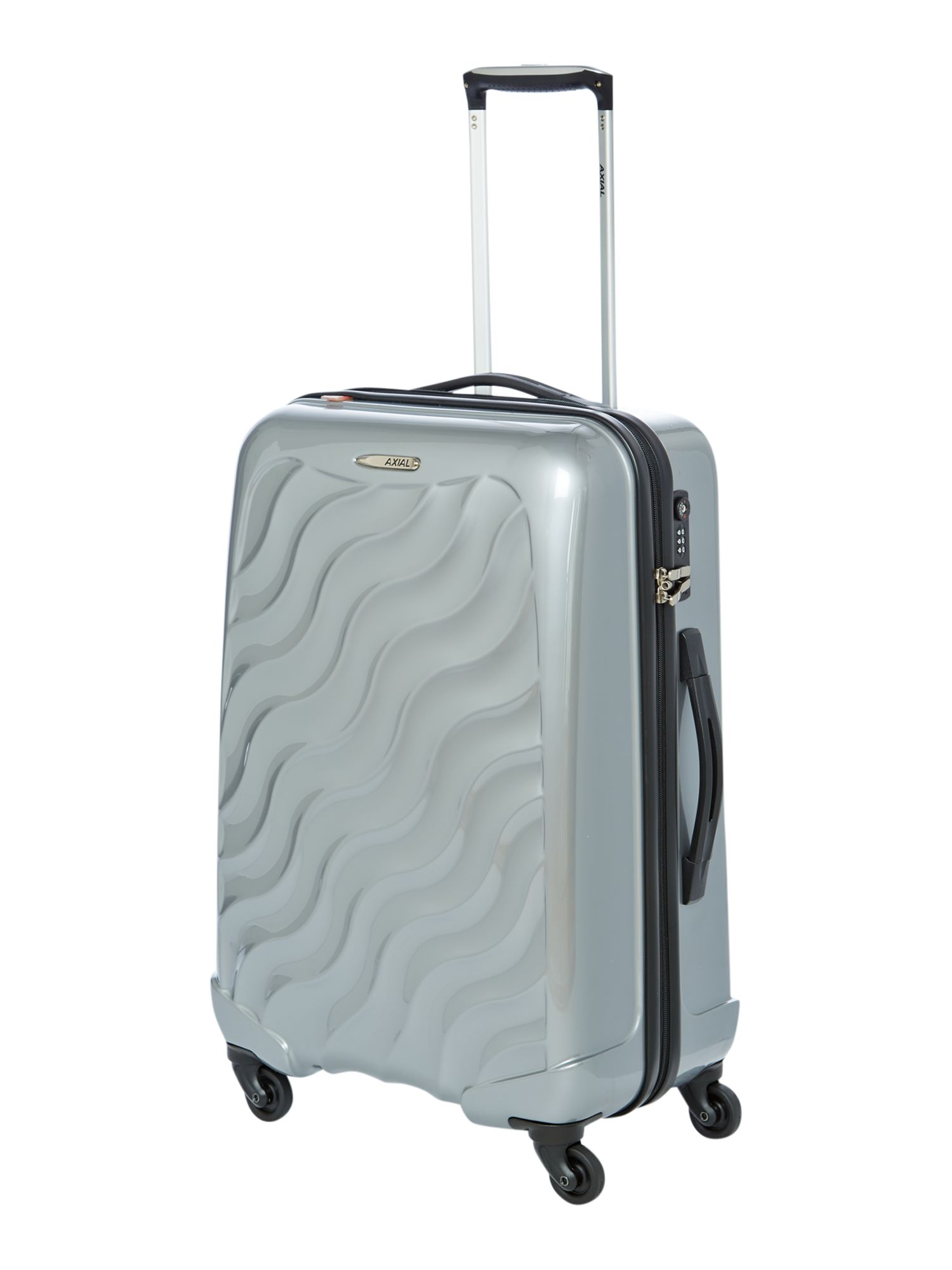 Axial medium 4 wheel silver suitcase