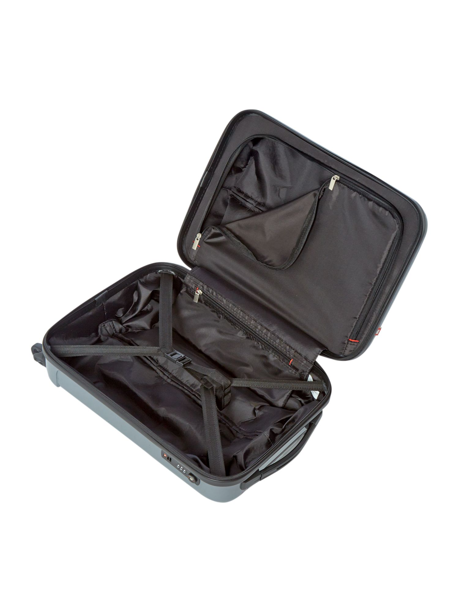 Axial cabin 4 wheel silver suitcase