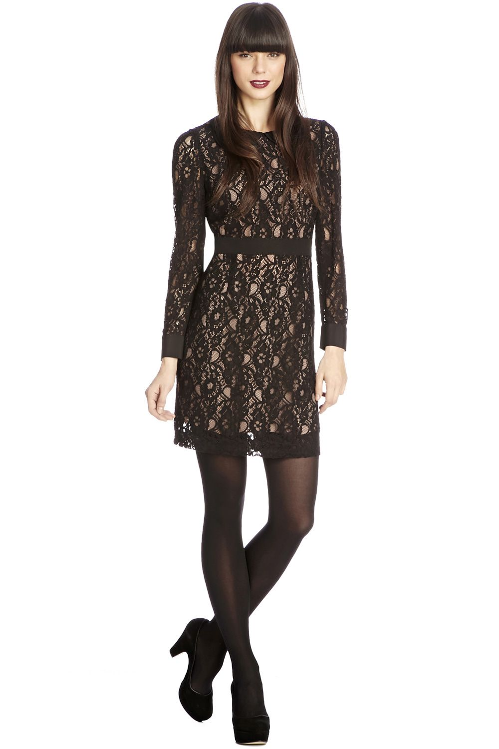 Lace Collar Long Sleeve Dress