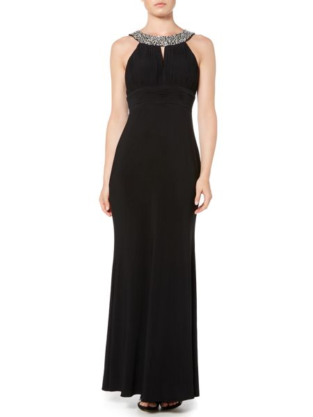 JS Collections Crystal Neck Halter Dress
