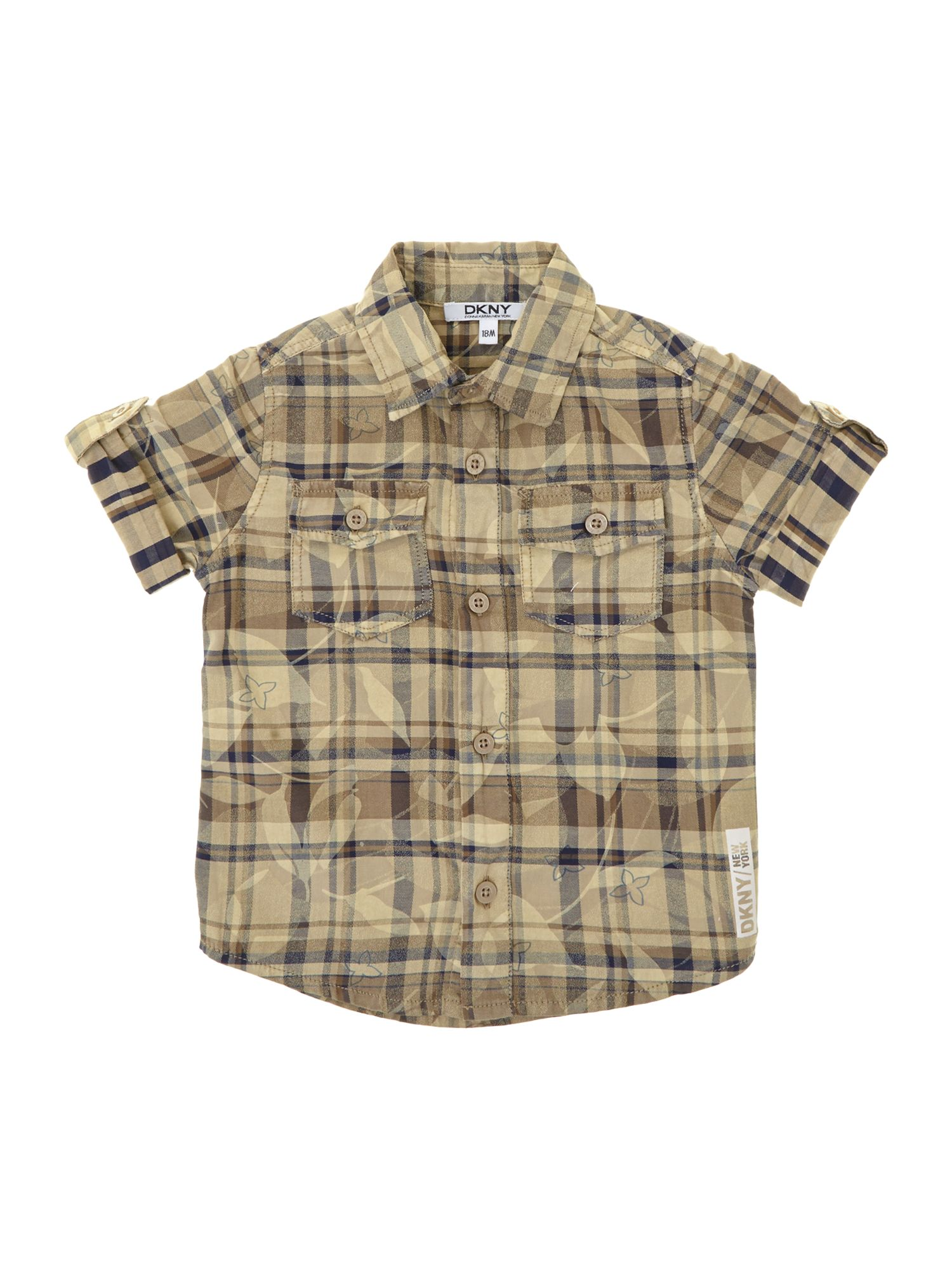 Boy`s twill check and flowers shirt