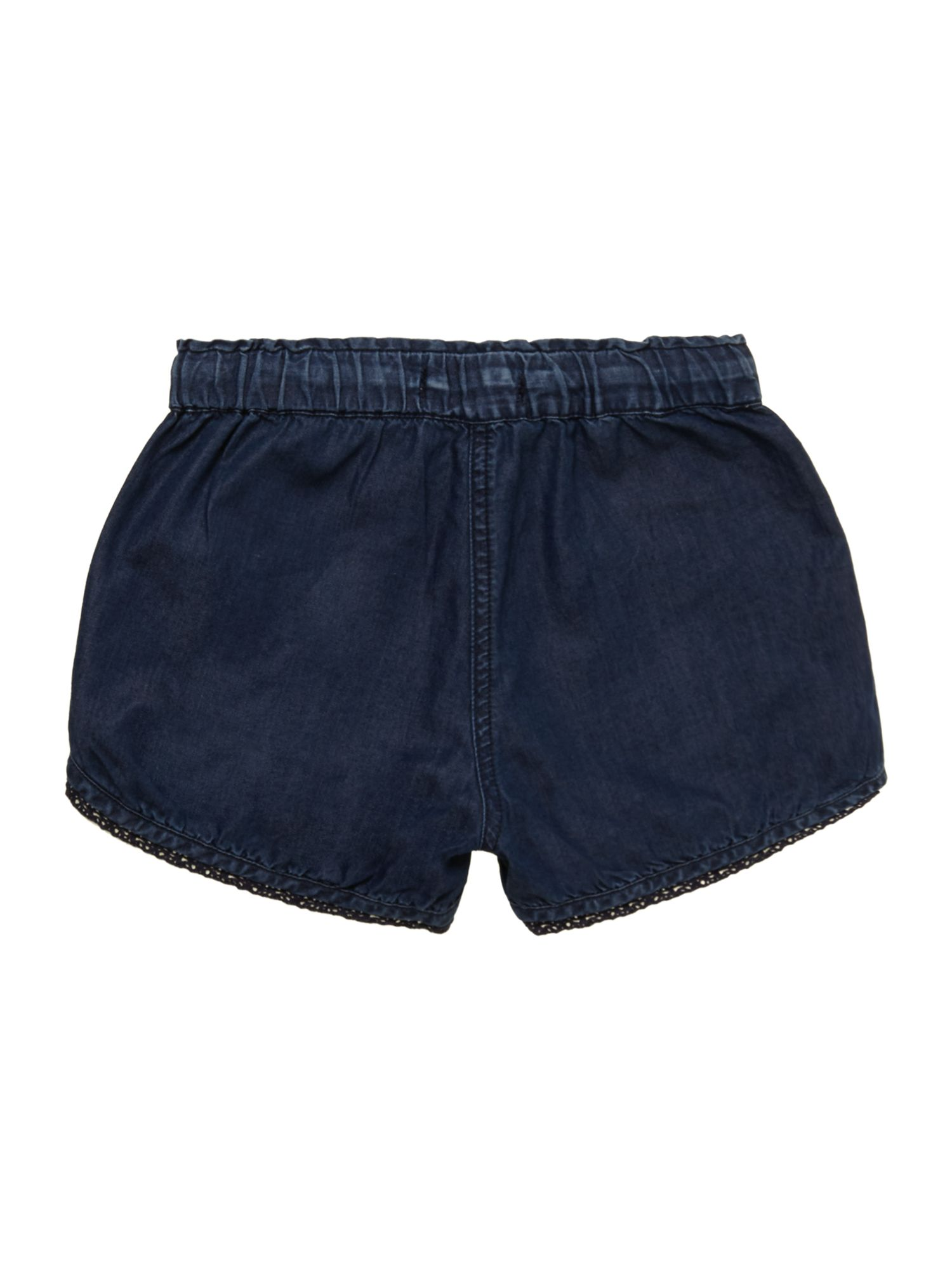 Girl`s lace trim denim shorts
