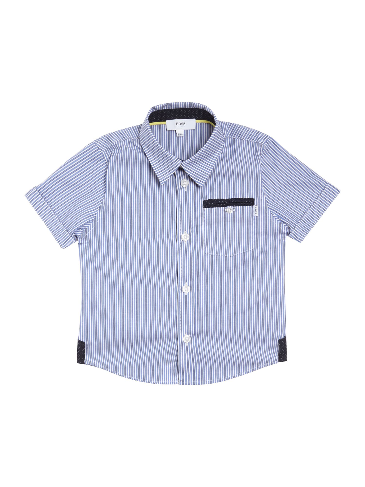 Boy`s striped short sleeve poplin shirt