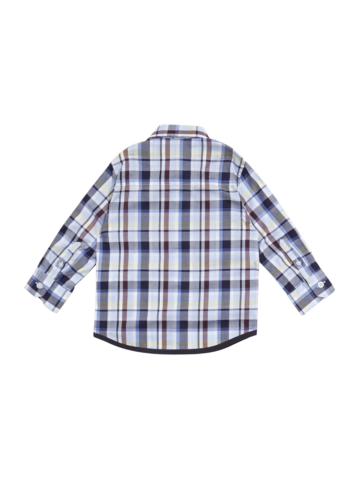Boy`s checked poplin long sleeve shirt