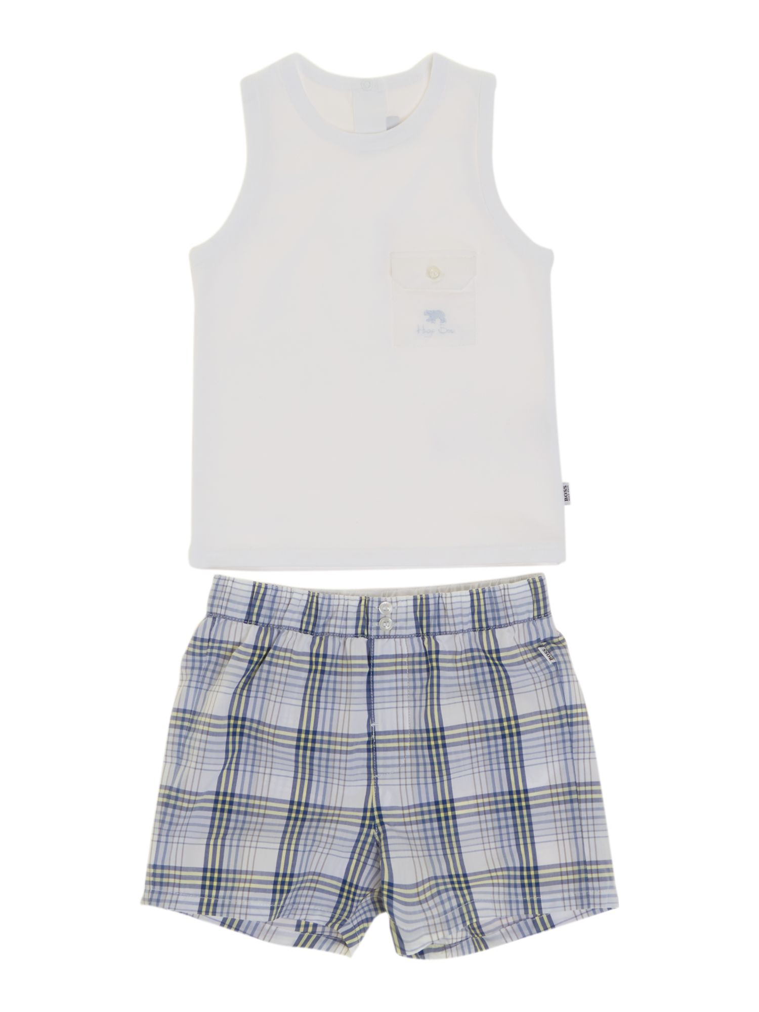 Boy`s set of jersey tank top and poplin shorts