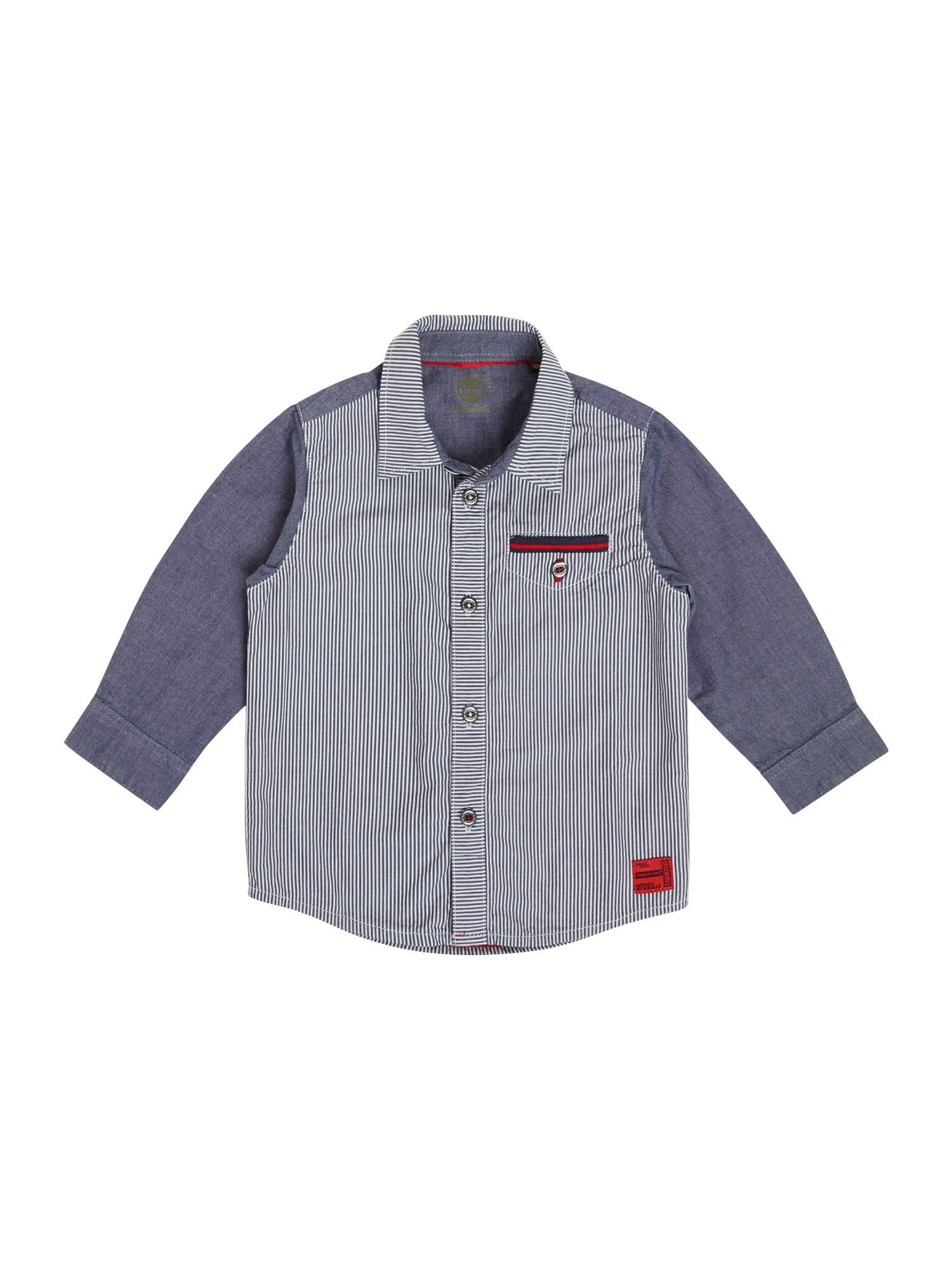 Boy`s striped poplin and chambray shirt