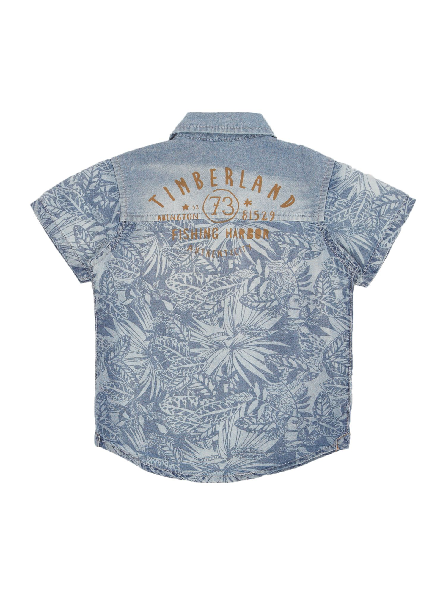 Boy`s printed chambray short sleeve shirt