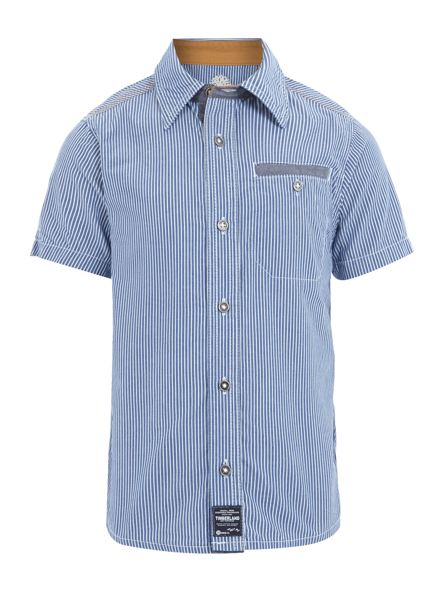 Boy`s striped poplin short sleeve shirt