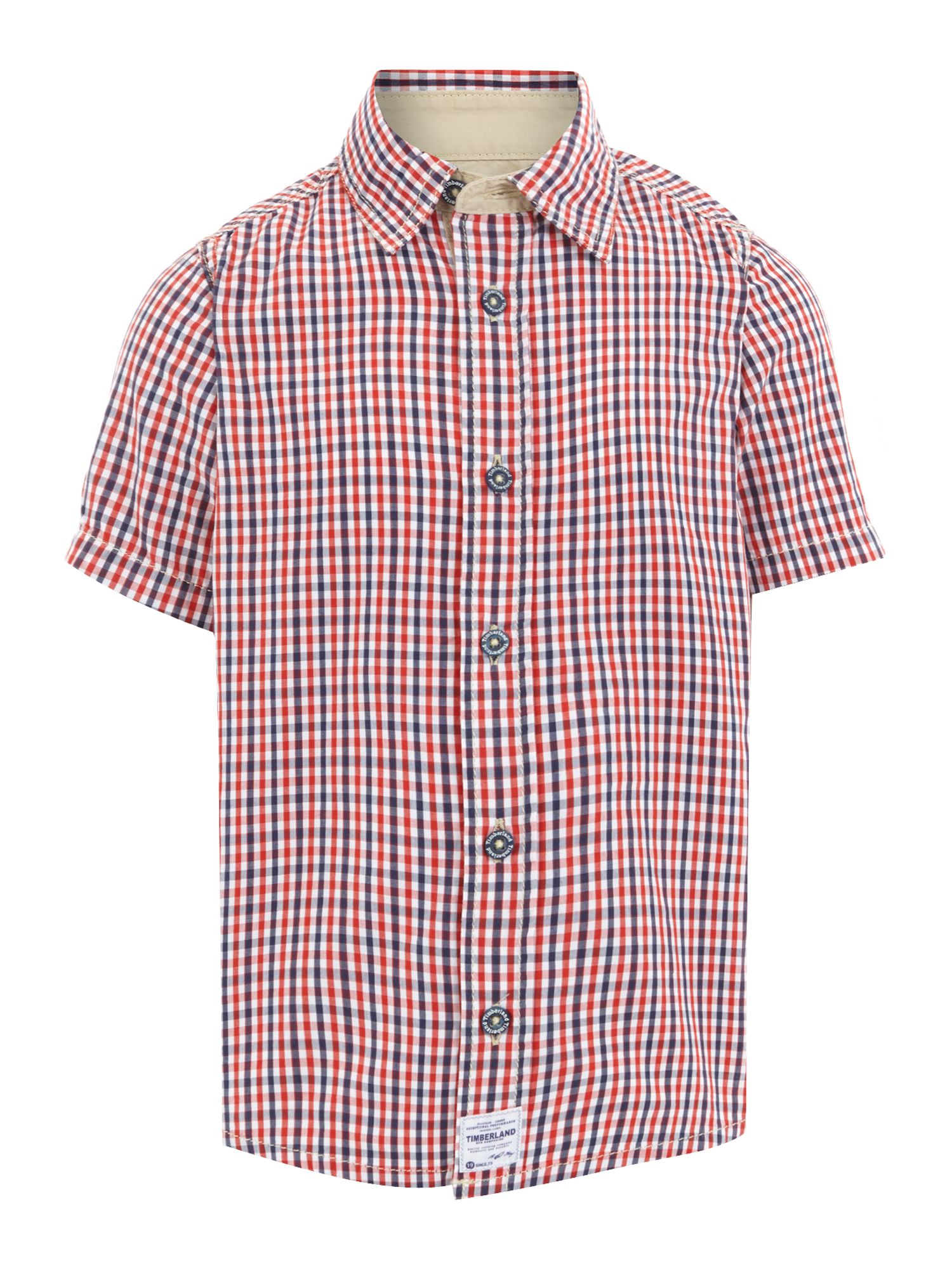 Boy`s twill check short sleeve shirt