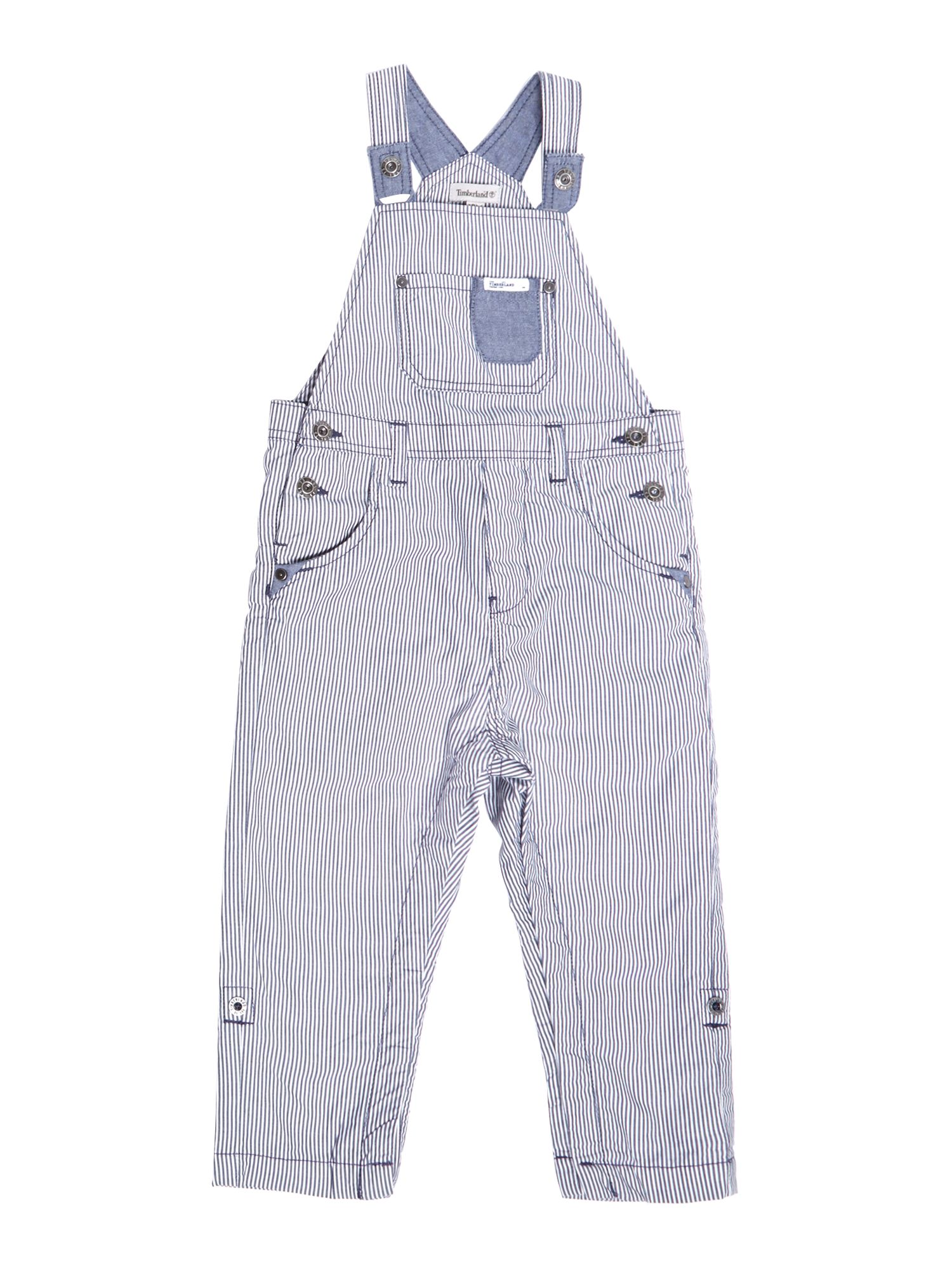 Boy`s striped poplin dungarees
