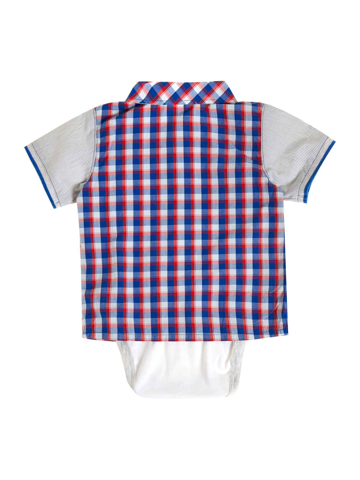Boy`s poplin check bodysuit