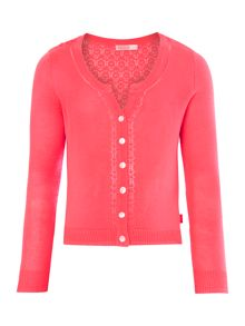 Girl`s long sleeve spotted knitted cardigan