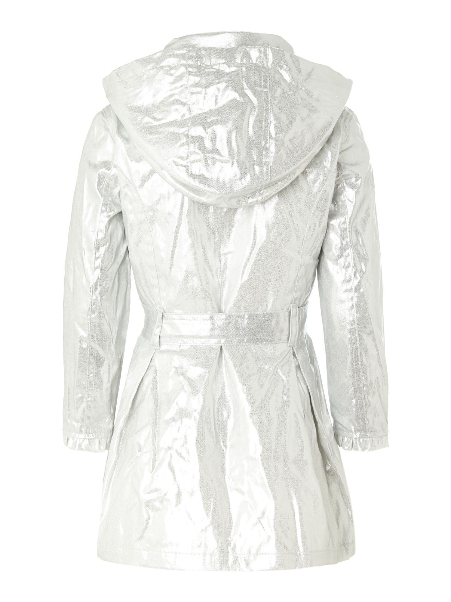 Girl`s iridescent trenchcoat