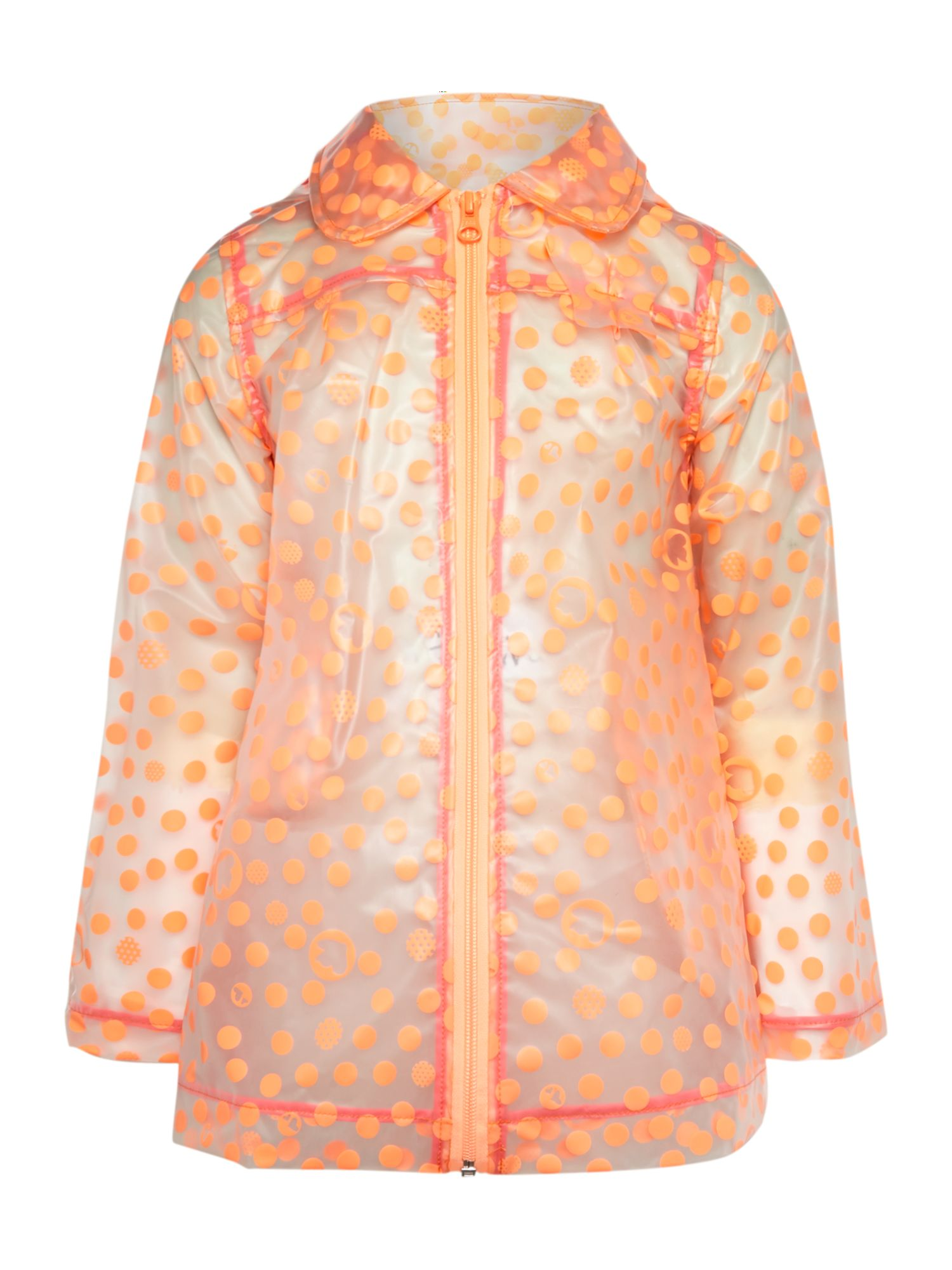 Girl`s hooded spotted raincoat