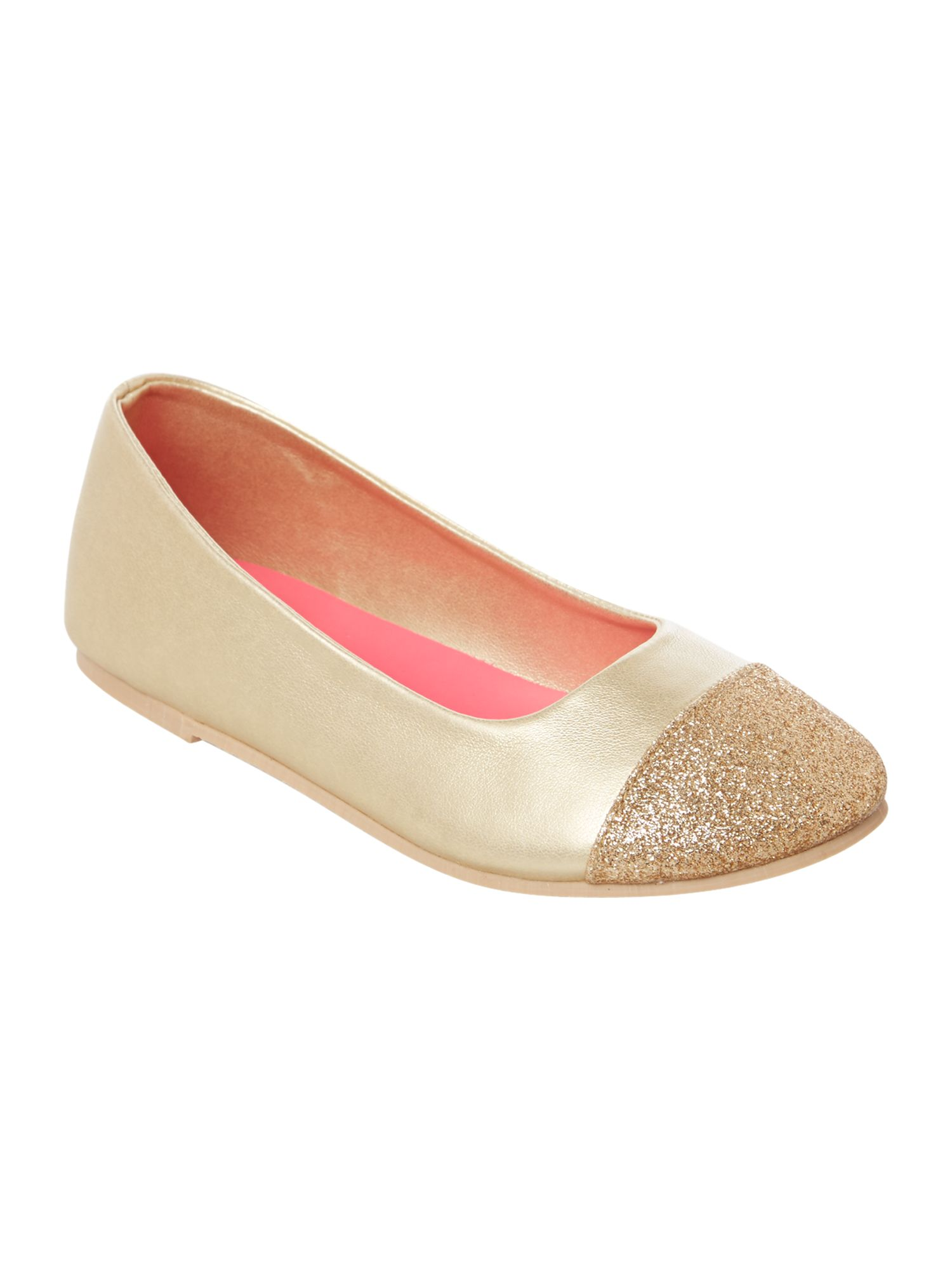 Girls iridescent ballerina pumps