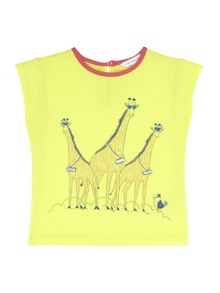Girl`s round neck illustration t-shirt